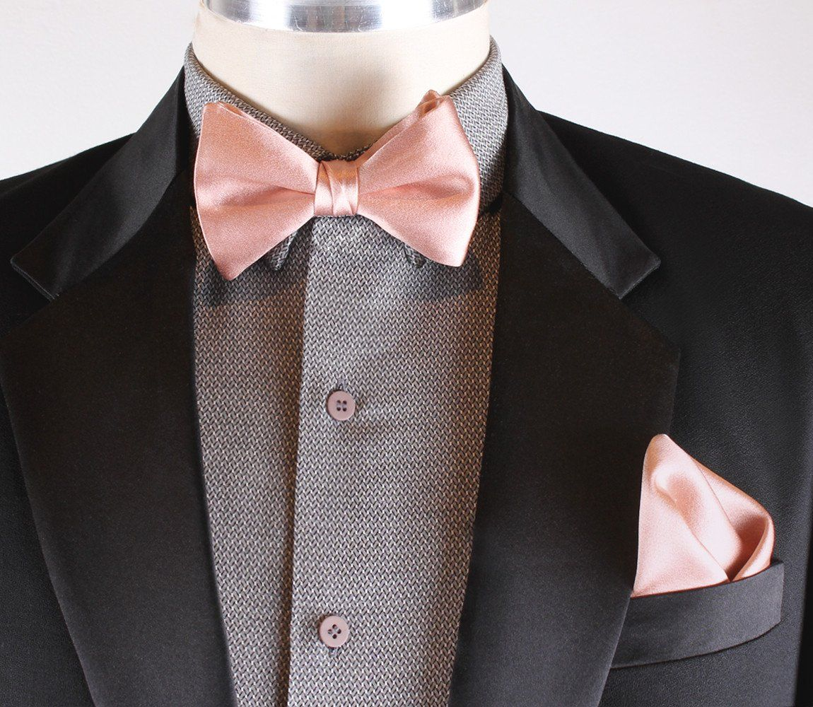 Men/'s Black with Pink /& White Checks Self-tied Bowtie /& Pocket Square Trendy Set