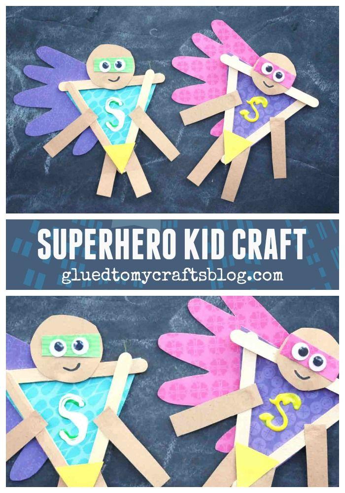 Popsicle Stick Superhero w/Handprint Cape #superherocrafts