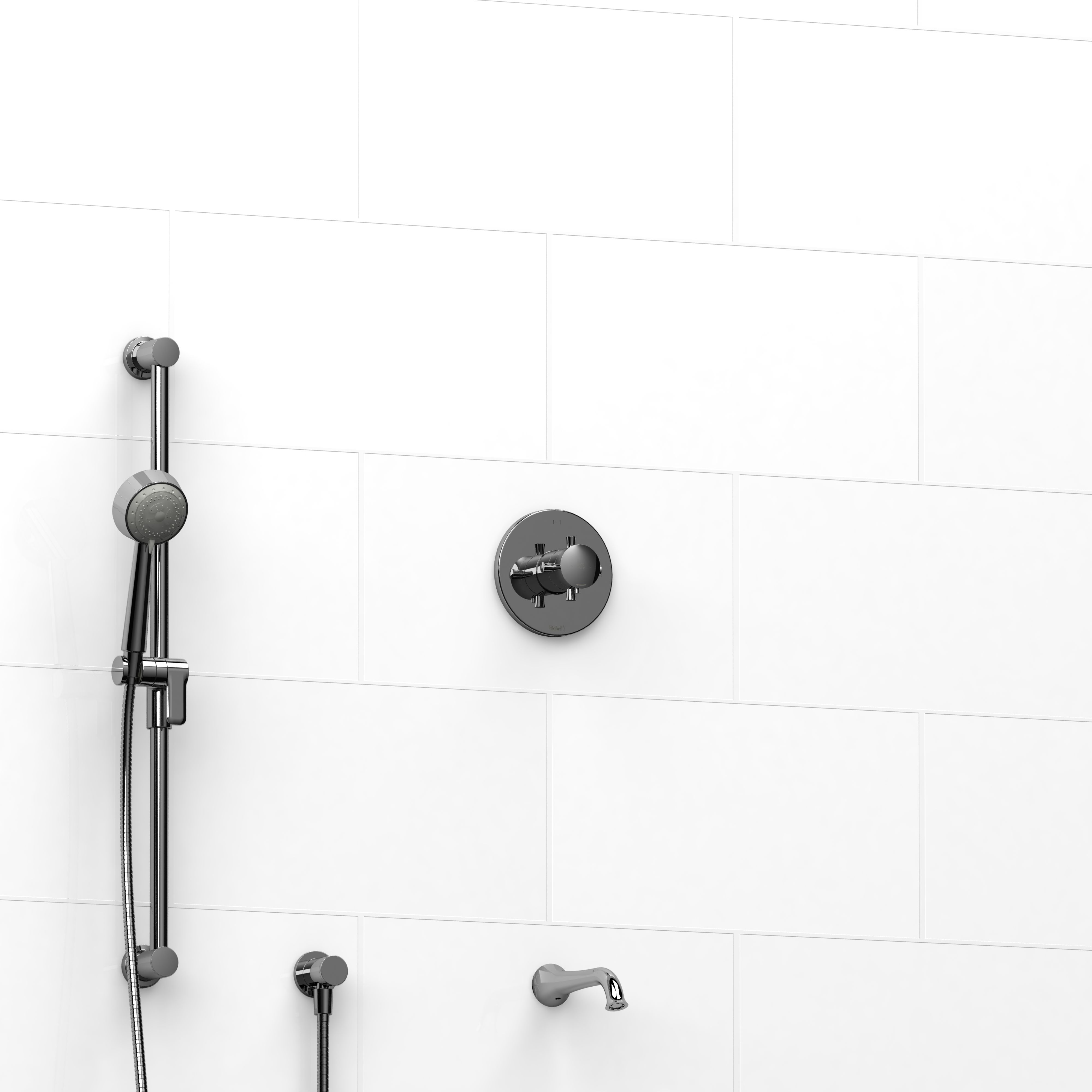 Gentil Riobel Edge Shower/ Tub Kit. Fixture For Guest Bath