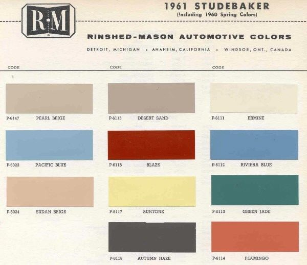 1961 Studebaker Color Sample Chips Card Oem Colors In Truck Bed