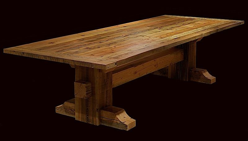 Urban Rustic Collection   Dining Table   Design #11   Shown Expanded  Version In Distressed Finished Reclaimed Wood Top U0026 Ebony Mahogany Base    Itemu2026