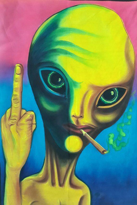 smoker don't care, Fluorescent painting, Glow in dark, UV Glow, Painting, Handmade painting