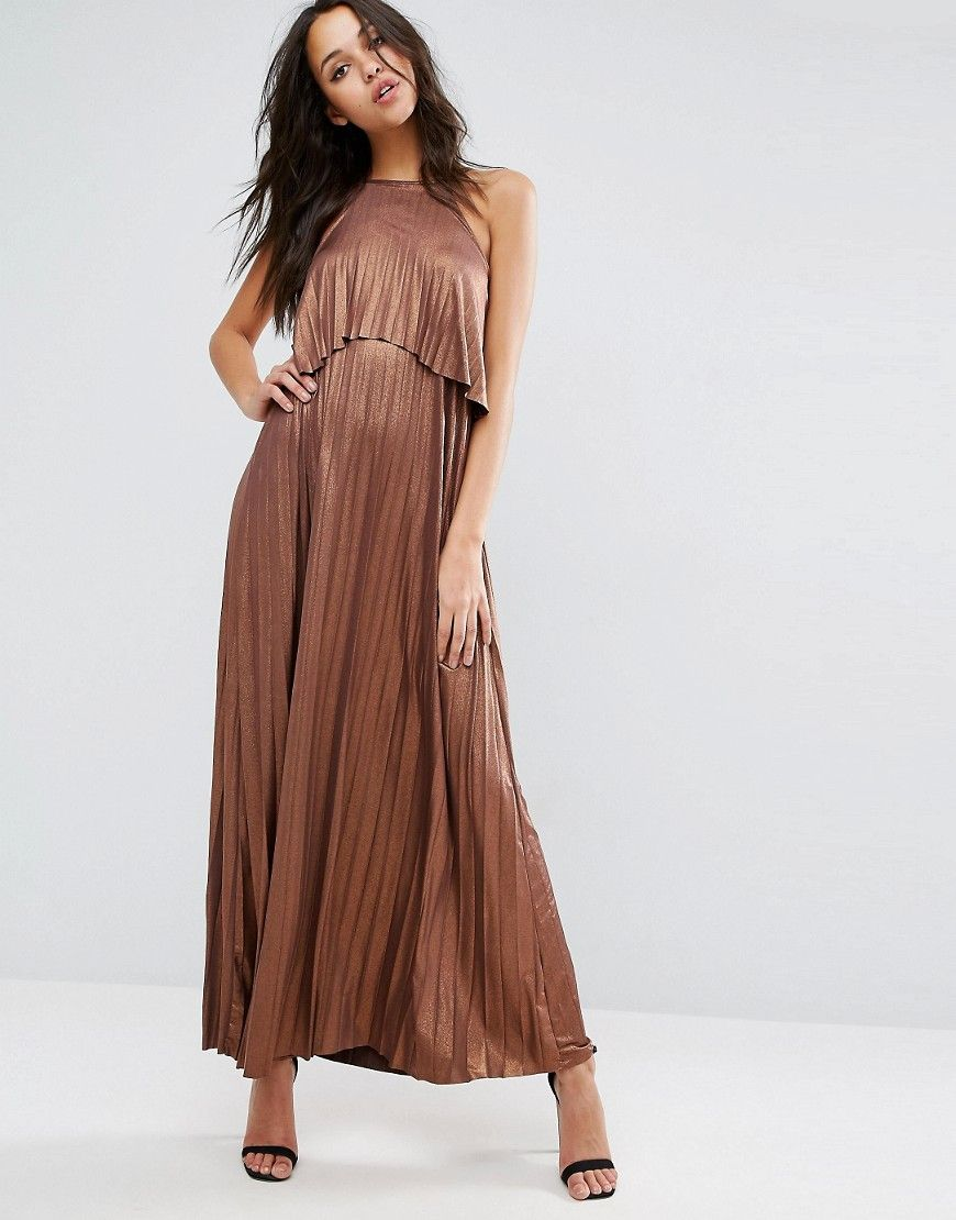 Metallic pleated crop top maxi dress products pinterest products