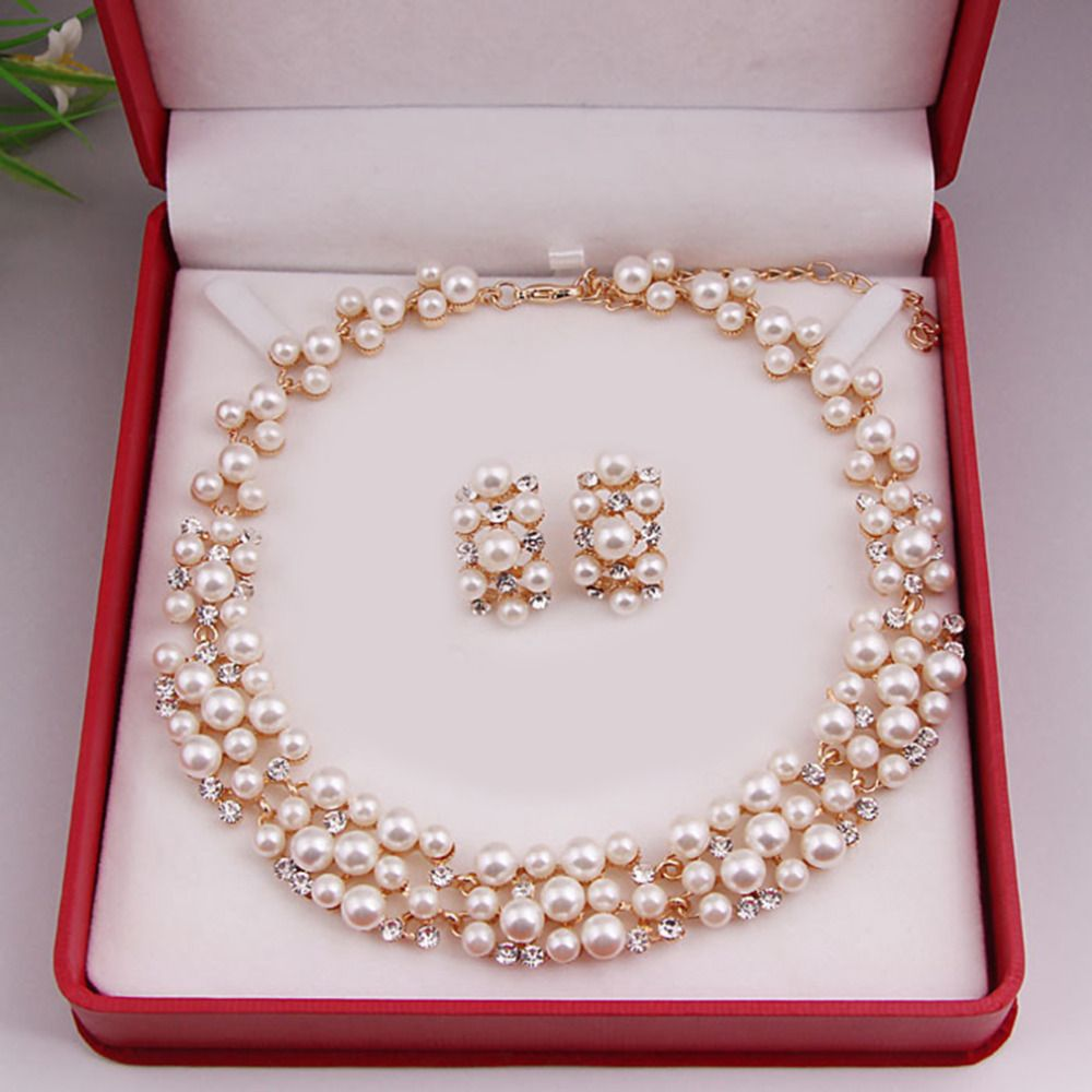 Worldwide Imitation Pearl Simple Elegant Bridal Jewelry Sets Kit