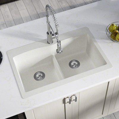 Mr Direct Granite Composite 33 L X 22 W Double Basin Drop In