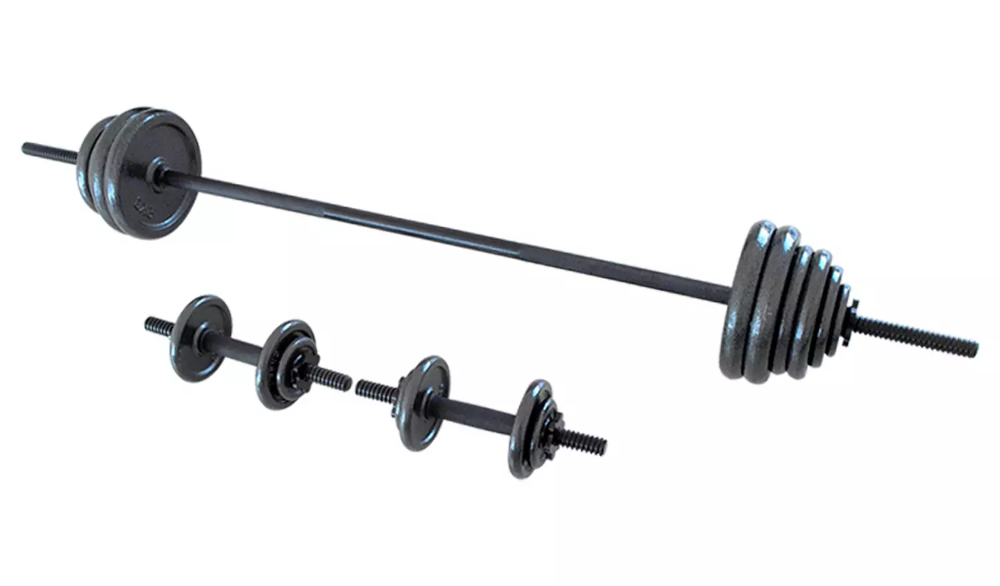 Buy Opti Cast Iron Bar And Dumbbell Set 48 8kg Dumbbells Argos Dumbbell Set Dumbbell Weight Training Workouts