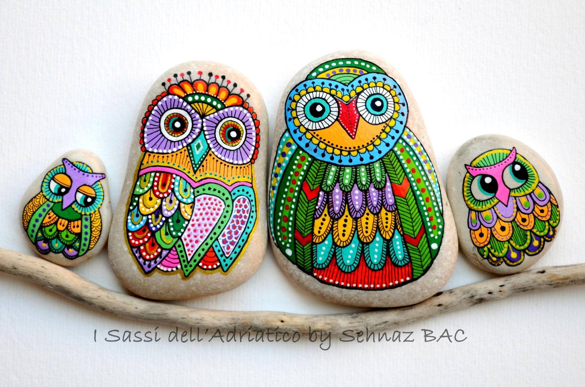 Owl family https://www.facebook.com/ISassiDelladriatico #paintedstones