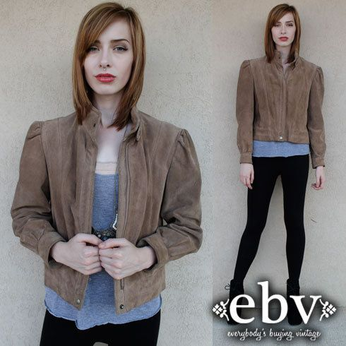 Vintage Leather Jacket Leather Coat Cropped Leather by shopEBV