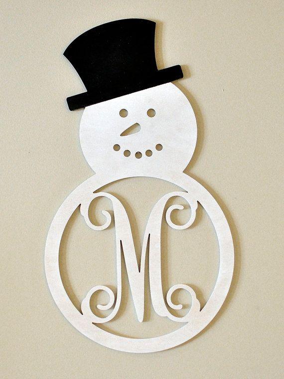 Winter Snowman Monogram Door Hanger Wood Ideas For The House