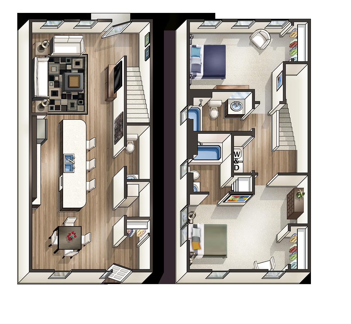 Spacious 1,412 Square Foot 2 Bedroom 2.5 Bathroom 2-floor