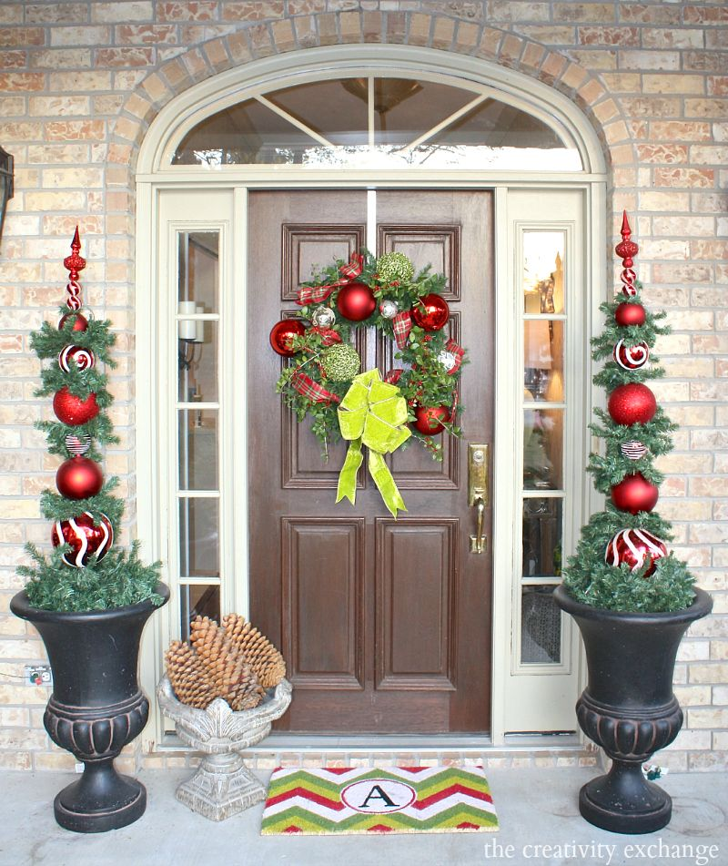 Our Christmas Home Tour Christmas Front Doors Topiary And Front Doors