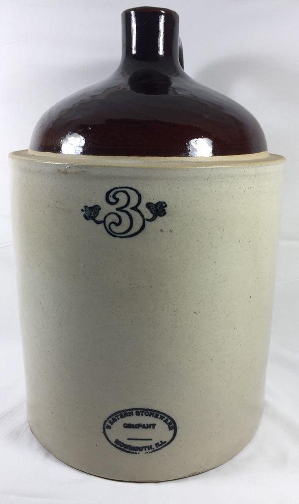 Vintage Rare Western Stoneware Company Monmouth ILL 3 Gallon