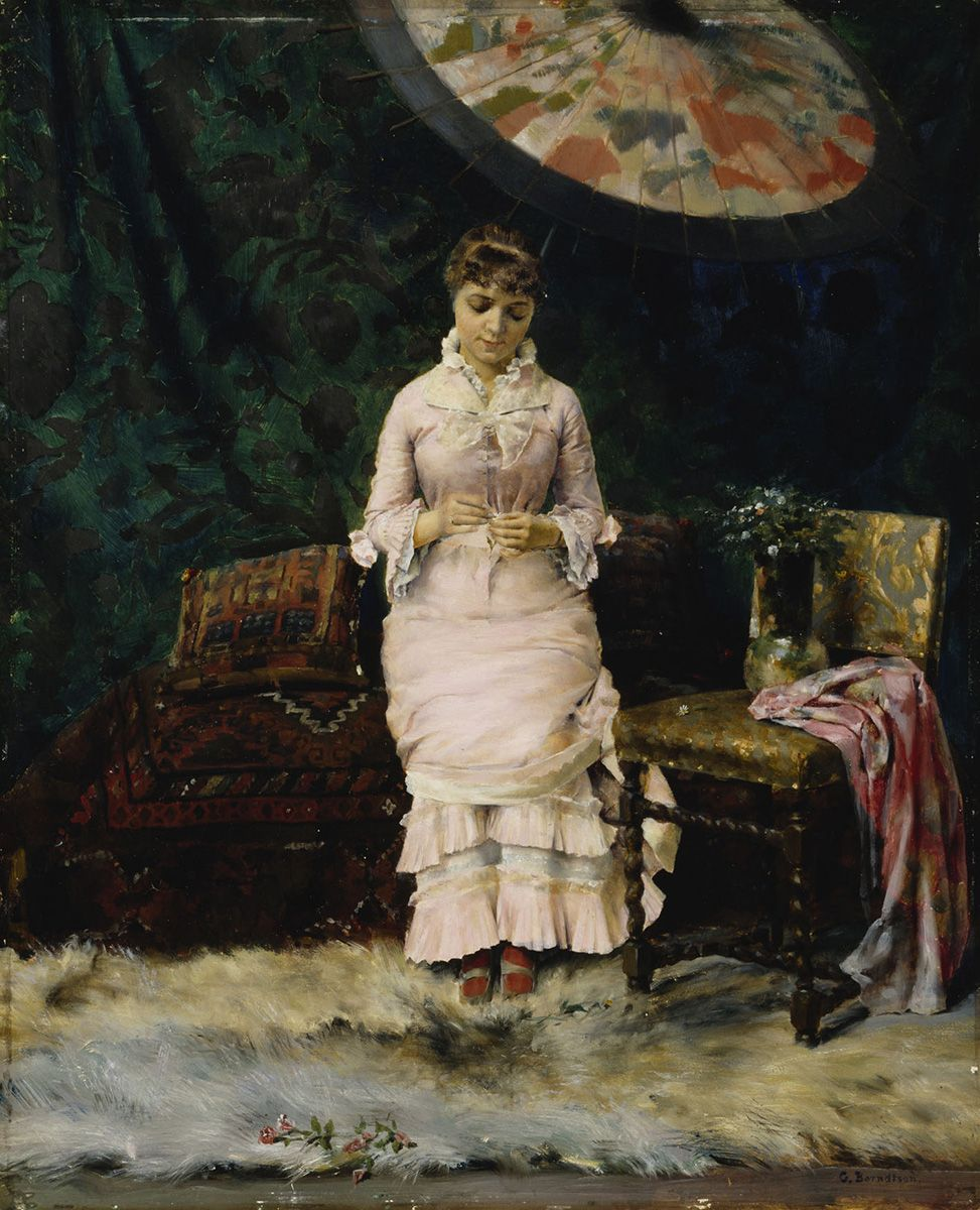 Gunnar Berndtson (1854-1995) Kyllä - ei, lepohetki ateljeessa, 1879. Ateneumin taidemuseo. Kuva: Kansallisgalleria / Kirsi Halkola
