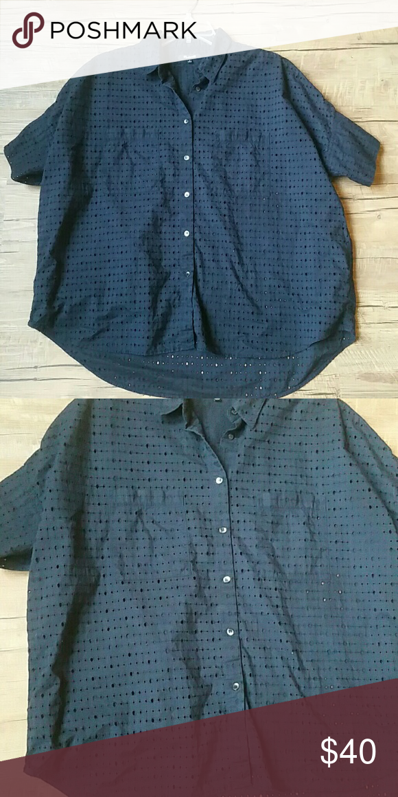 Madewell courier shirt Worn a handful of times. Navy w eyelet cutouts. Washed cold and hung to dry. No pets or smoking Madewell Tops