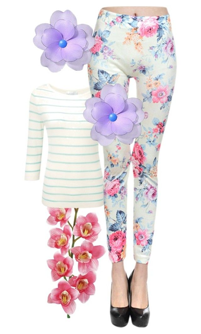 """""""Floral and Stripes"""" by hallaveryh ❤ liked on Polyvore featuring Laura Cole"""