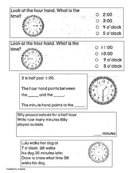 First Grade Math Quiz on Time | Measurement (Primary / Elementary ...