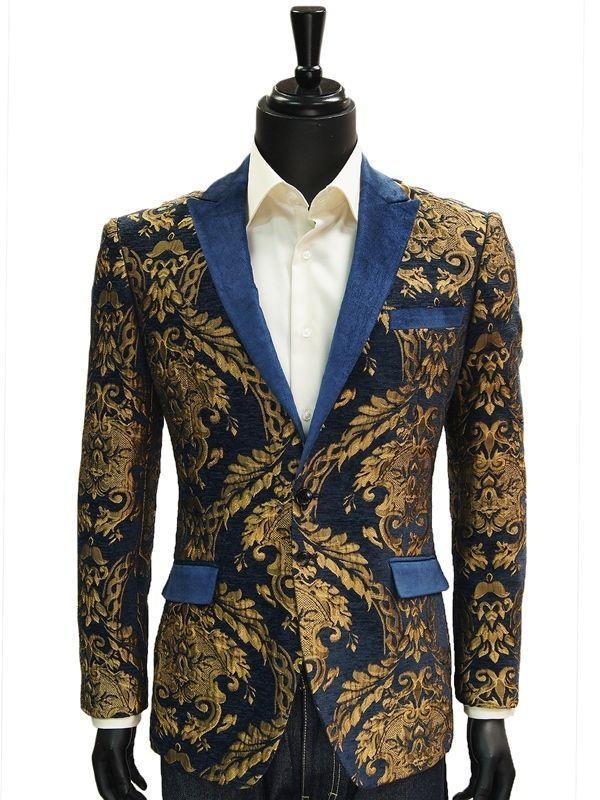 Angelino Mens Blue Gold Leaf Royalty Velvet Lapel Trending Formal Jacket  Blazer  4e83441fcc8