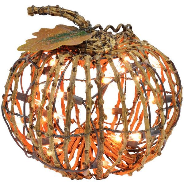 Small Grapevine Pumpkin with Lights By Ashland ❤ liked on Polyvore