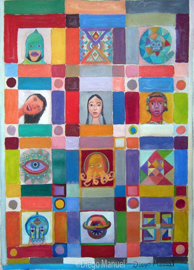 Mosaico americano, acrylic on canvas, 29 x 42 cm. , 2011. Pintura en venta de la…