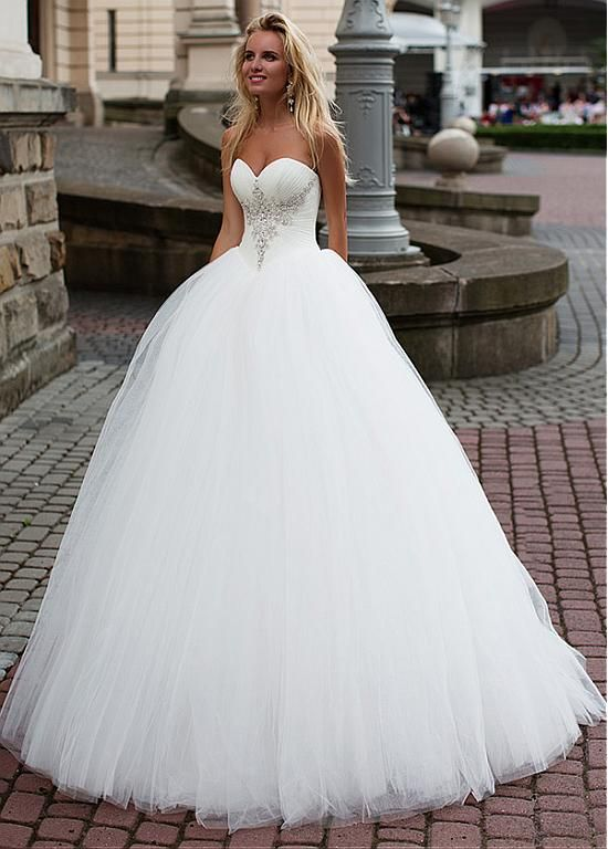 Magbridal Stunning Tulle Sweetheart Neckline Basque Waistline Ball Gown Wedding Dress With Beadings #tulleballgown