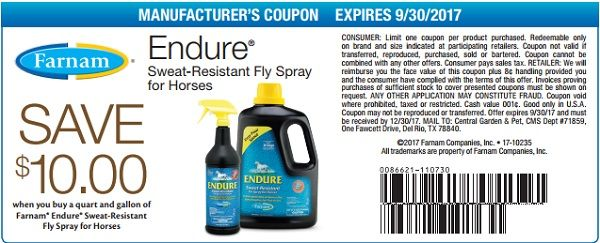 save 10 on endure fly spray at farnam with this printable in store coupon from goodshop