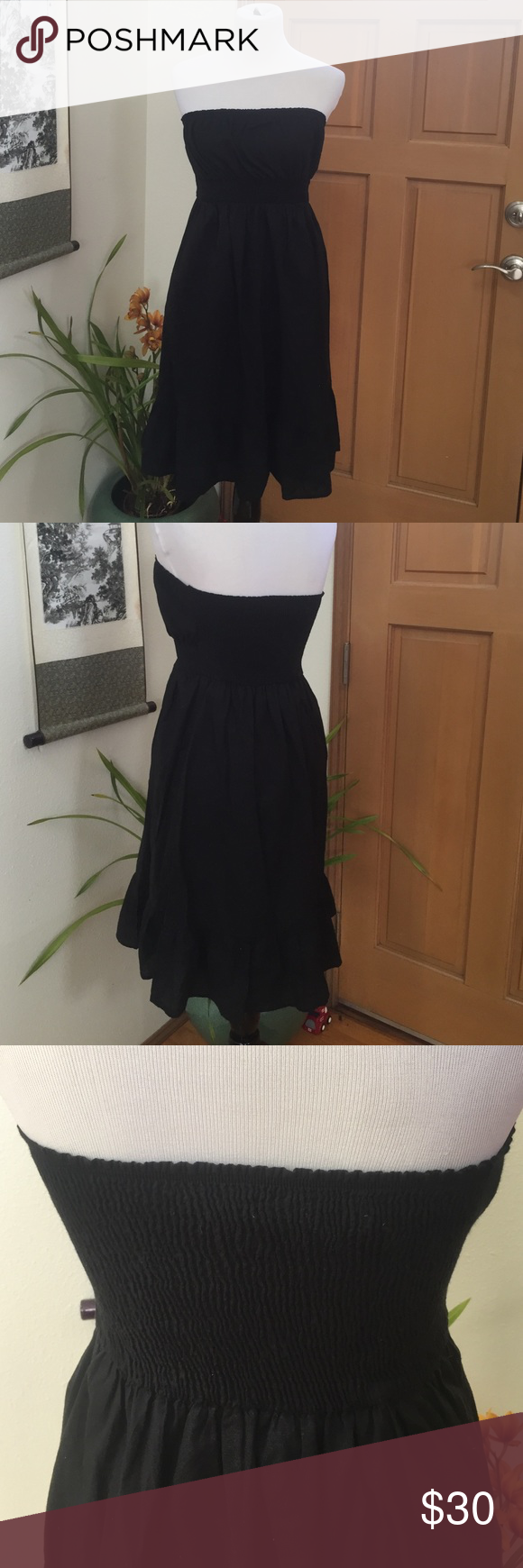 Anthropologie dress Black strapless fei brand for Anthropologie size medium dress that is 100% cotton Anthropologie Dresses Midi