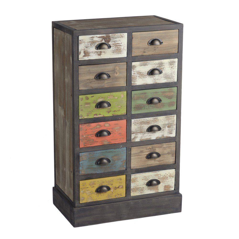 MD - Mueble 12 cajones madera, medidas 59,50x34,50x98,50cm, color ...