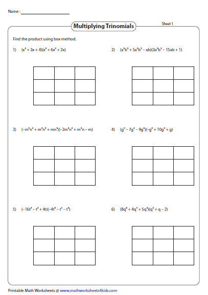 Multiply The Trinomials Using The Box Method Polynomials Printable Math Worksheets Multiplying Polynomials