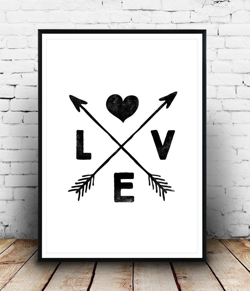 Boho chic decor, love art print, arrows print, black and ...
