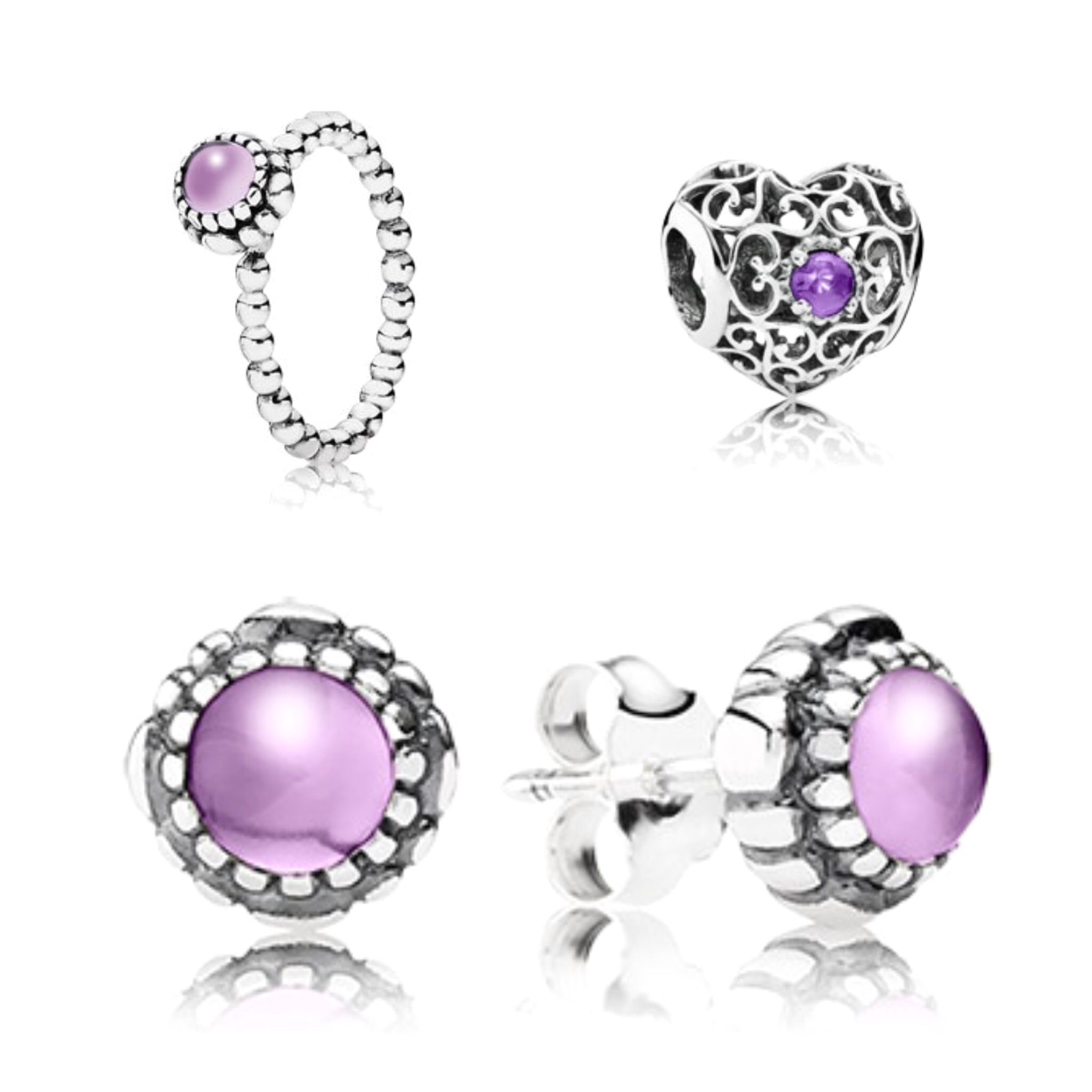 The Pandora Birthstone Range For February Is Amethyst Set In Silver Ever Por Stacker Ring Looks Beautiful On Its Own Or Stacked
