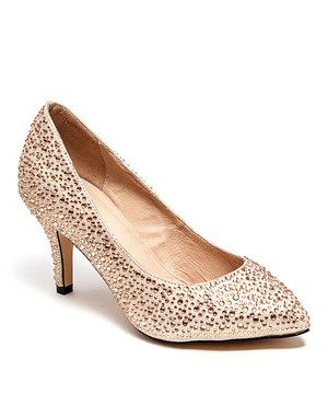 Look what I found on #zulily! Lady Couture Champagne Studded Monaco Pump by Lady Couture #zulilyfinds