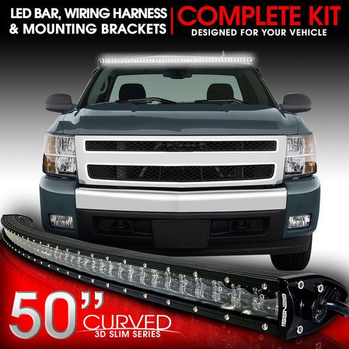 LED Light Bar Curved 288W 50 Inches Bracket Wiring Harness