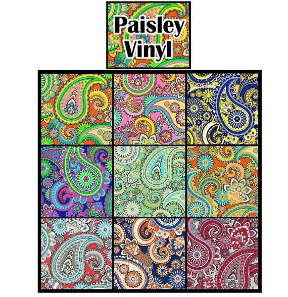 Paisley Print Heat Transfer Vinyl 12x12 Sheet Size Htv Craft Vinyl Paisley Pattern Htv Patterned Vinyl Silhouette Fonts Silhouette Curio