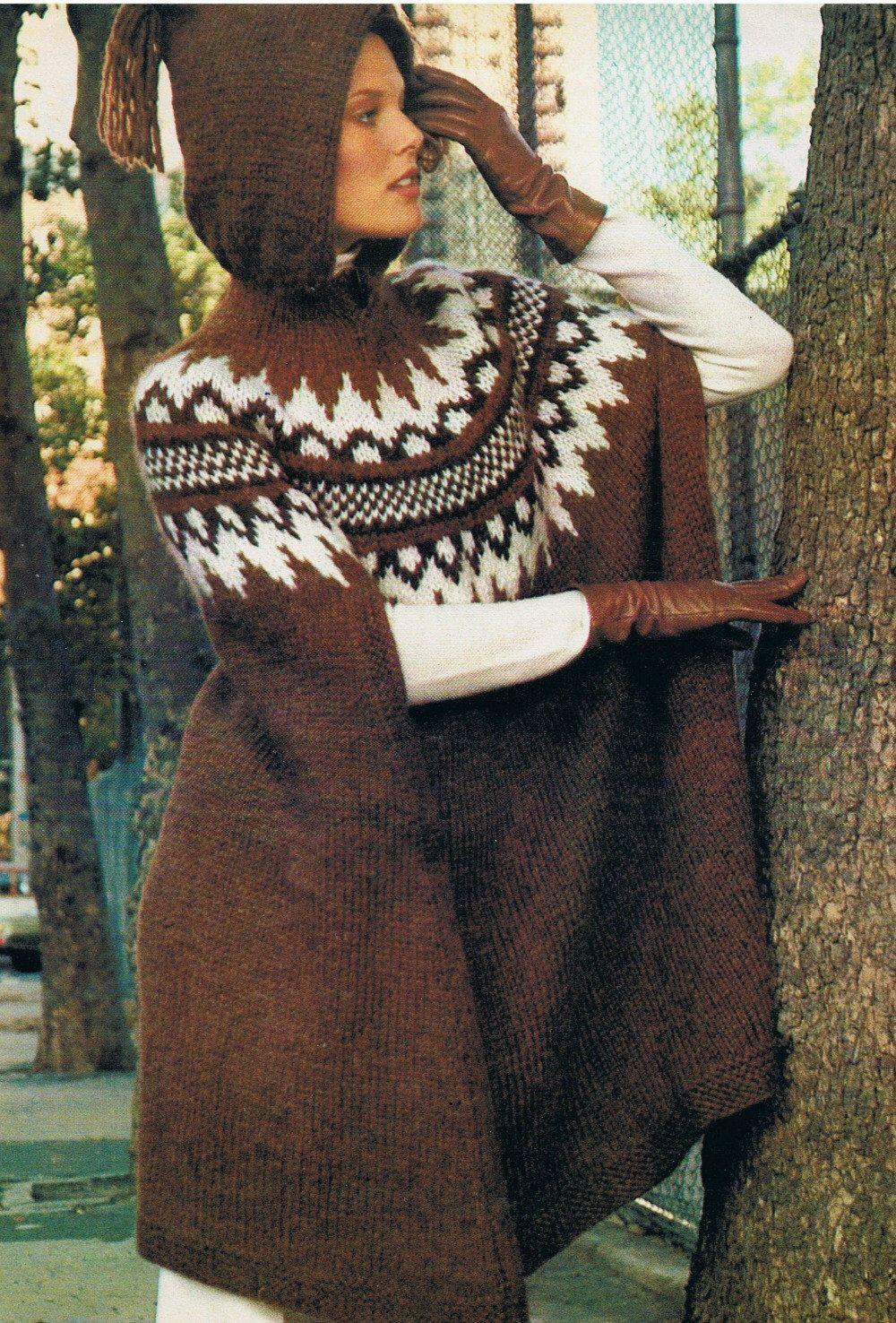 Scandinavian Women S Hooded Poncho Vintage Ladies Knitting
