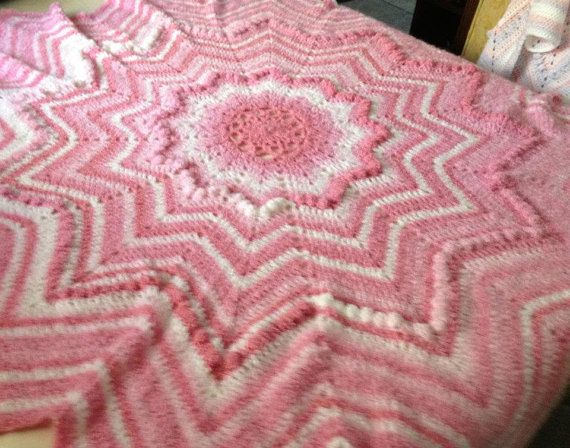 Crocheted puffy round ripple star shaped by twoneedlesandahook, $50.00