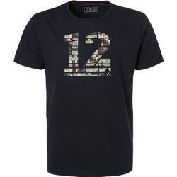 Ragman Herren T-Shirts, Baumwolle, navy gemustert blau Ragmanragman