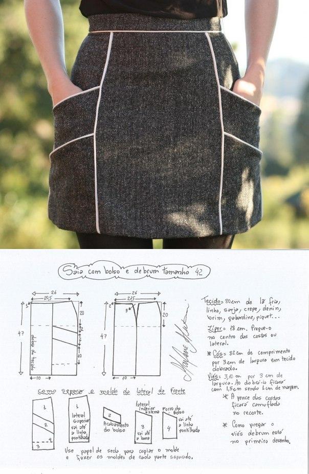 La costura ✂ los Patrones. La falda. Las dimensiones de 36-56 ...
