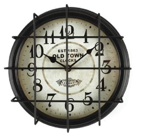 "Black Wall Clocks industrial cage wall clock antique reproduction metal 9.5"" black"