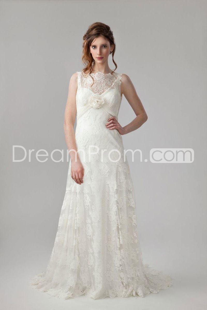 Elaborate empire bateau sleeveless floorlength court lace wedding