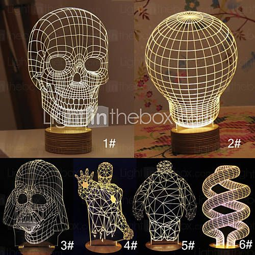 40 49 3d Skull Cartoon Model Creative Atmosphere Usb Mood Led Decoration Table Lamp Warm White Night Light White Night Lights Led Decor Night Light