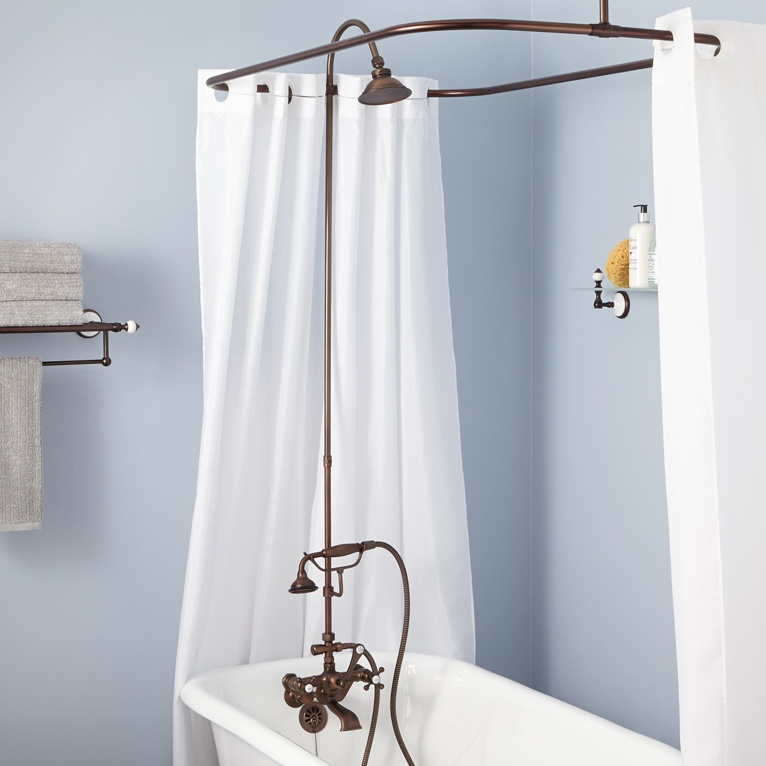 Gooseneck Shower Conversion Kit With Hand Shower Clawfoot Tub