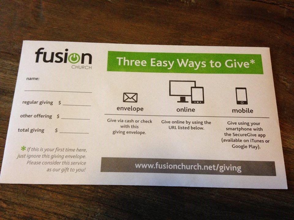 New offering envelope design church branding church