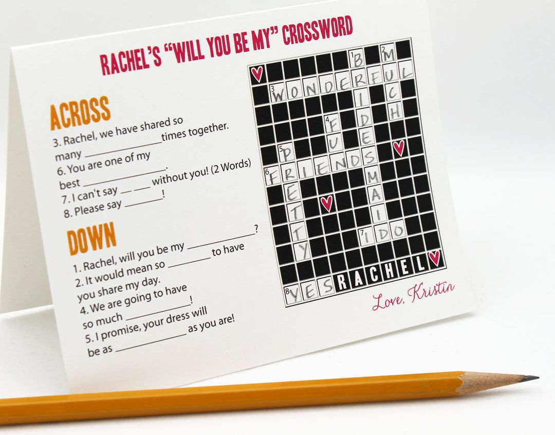 5 Custom Crossword Puzzle Cards Will You Be My Bridesmaid Flower Girl Etc