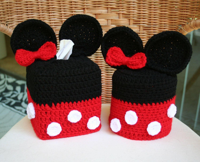 Disney Minnie Mouse Crochet Bathroom Decor Set - Tissue Box and ...