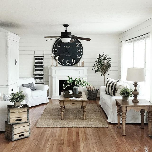 White Wood And Black Accents Living Room Farmhouse Decor Living Room Modern Farmhouse Living Room Decor Farm House Living Room