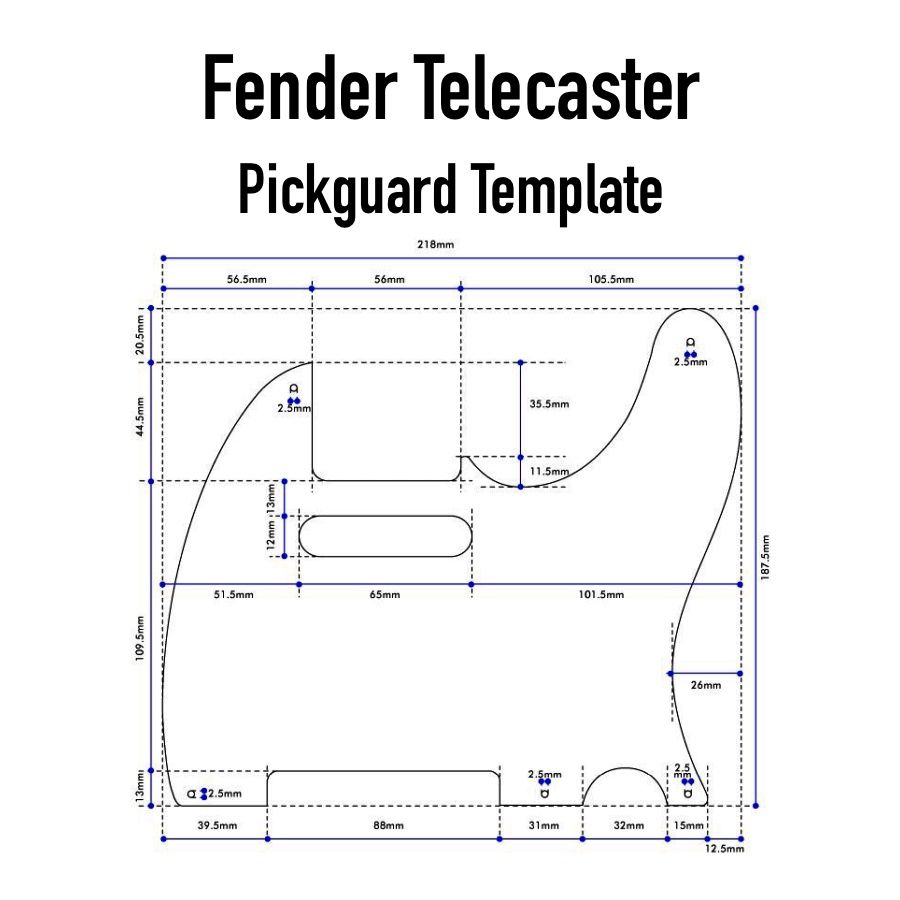 Fender Telecaster pickguard template | DIY Parts-guitar build ...