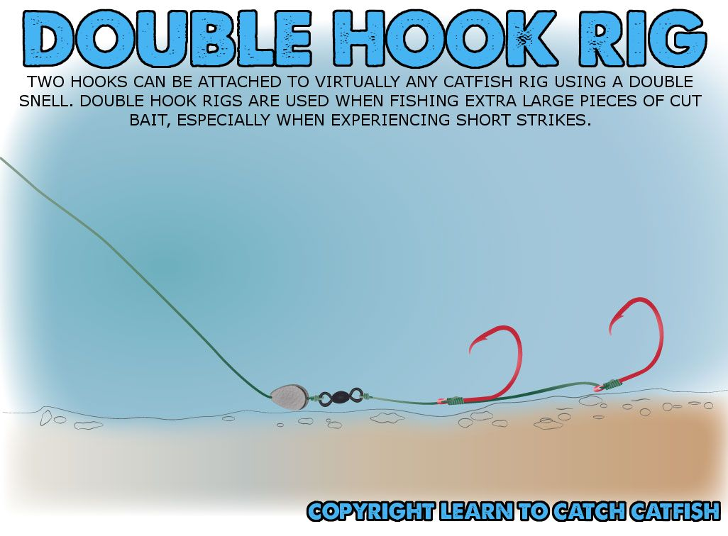 Double hook rig for big catfish baits fishing for How to fish for catfish in a lake