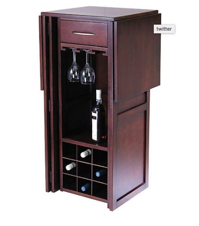 Mini Bar Wet Wine Buffet Expandable Small Liquor Cabinet Storage Fold Up Apt