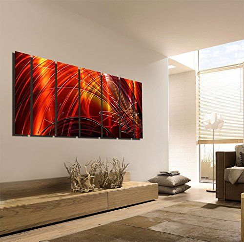 Extra Large Contemporary Metal Wall Art Red Gold Magenta With Earth Tone Painting Panel