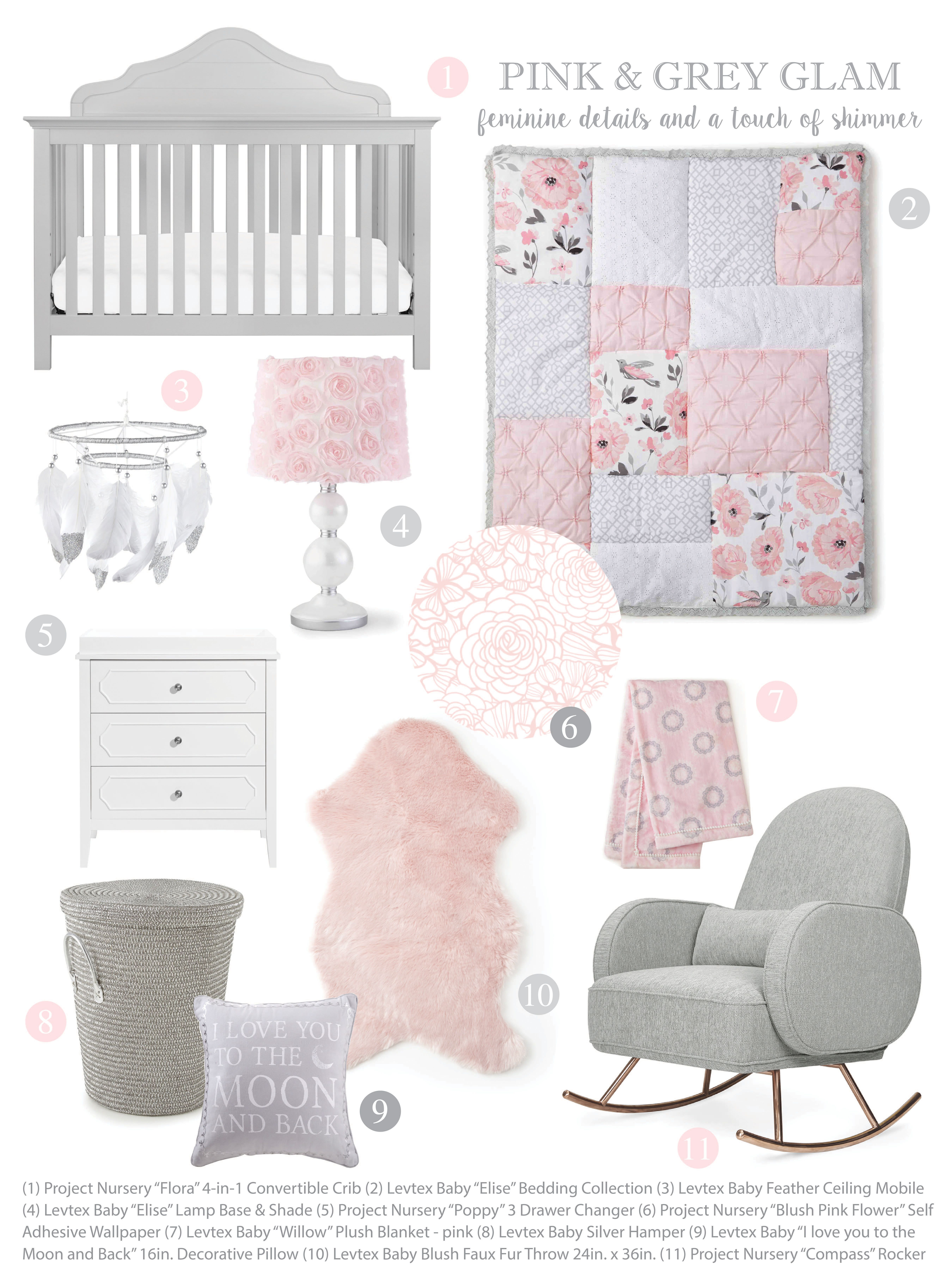 Combine Levtex Baby Elise Bedding With Project Nursery Furniture And Wallpaper